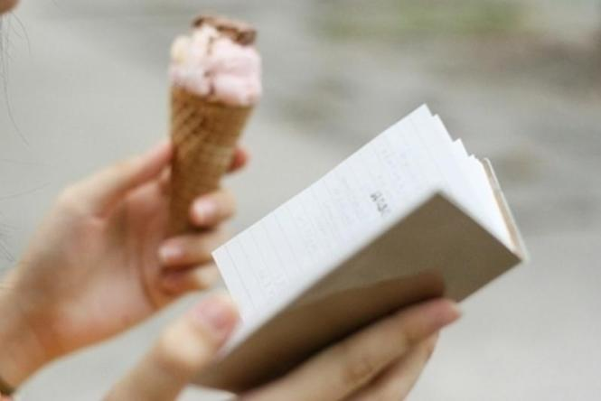 book and ice cream