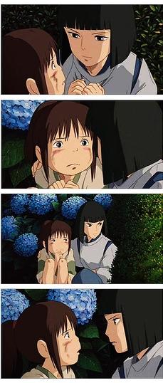 Haku helps Chihiro